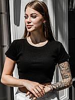 Женская короткая черная футболка, легкий летний топ с коротким рукавом