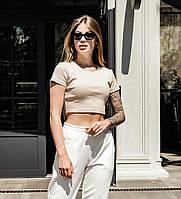 Женская летняя короткая футболка, приталенная, бежевая