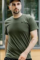 Мужская футболка Nike спортивная, хлопковая цвета хаки, реплика