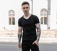 Стильная мужская футболка повседневная с коротким рукавом, черная