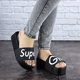 Женские шлепки на высокой подошве Fashion Super 1779 36 размер 22,5 см Черный
