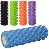 Массажный ролик (роллер, валик) для йоги MS 1843-1, 45*15 см, разн. цвета