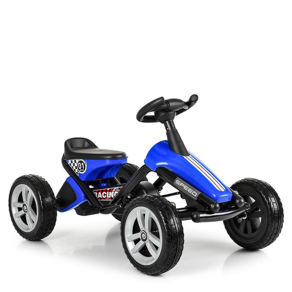 Дитяча педальная машинка-карт Bambi kart M 4087E-4 синій металева рама