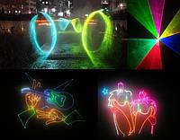Прокат, аренда полноцветного анимационного лазера, создание поздравительных шоу, логотипов