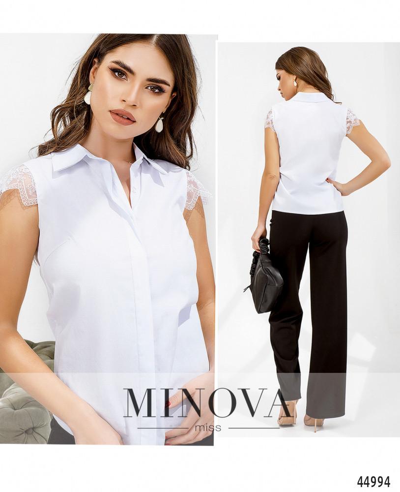Ніжна і нарядна блузка з рукавами-крильцем з мережива, розміри: 42, 44, 46