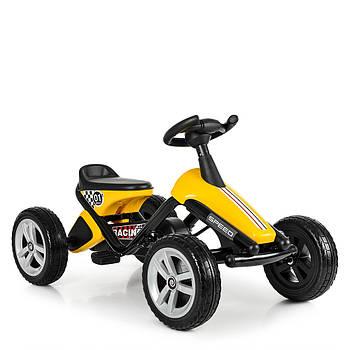 Детская педальная машинка-карт Bambi kart M 4087E-6 желтый металлическая рама