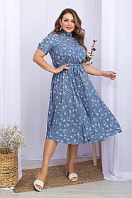 Романтическое софтовое платье  джинсового цвета с ромашками и высоким воротником  большой размер 2XL 3XL 4 XL