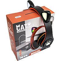 Наушники беспроводные с подсветкой CAT EAR YW-018 Bluetooth наушники с ушками (Черный) блютуз гарнитура (TI)