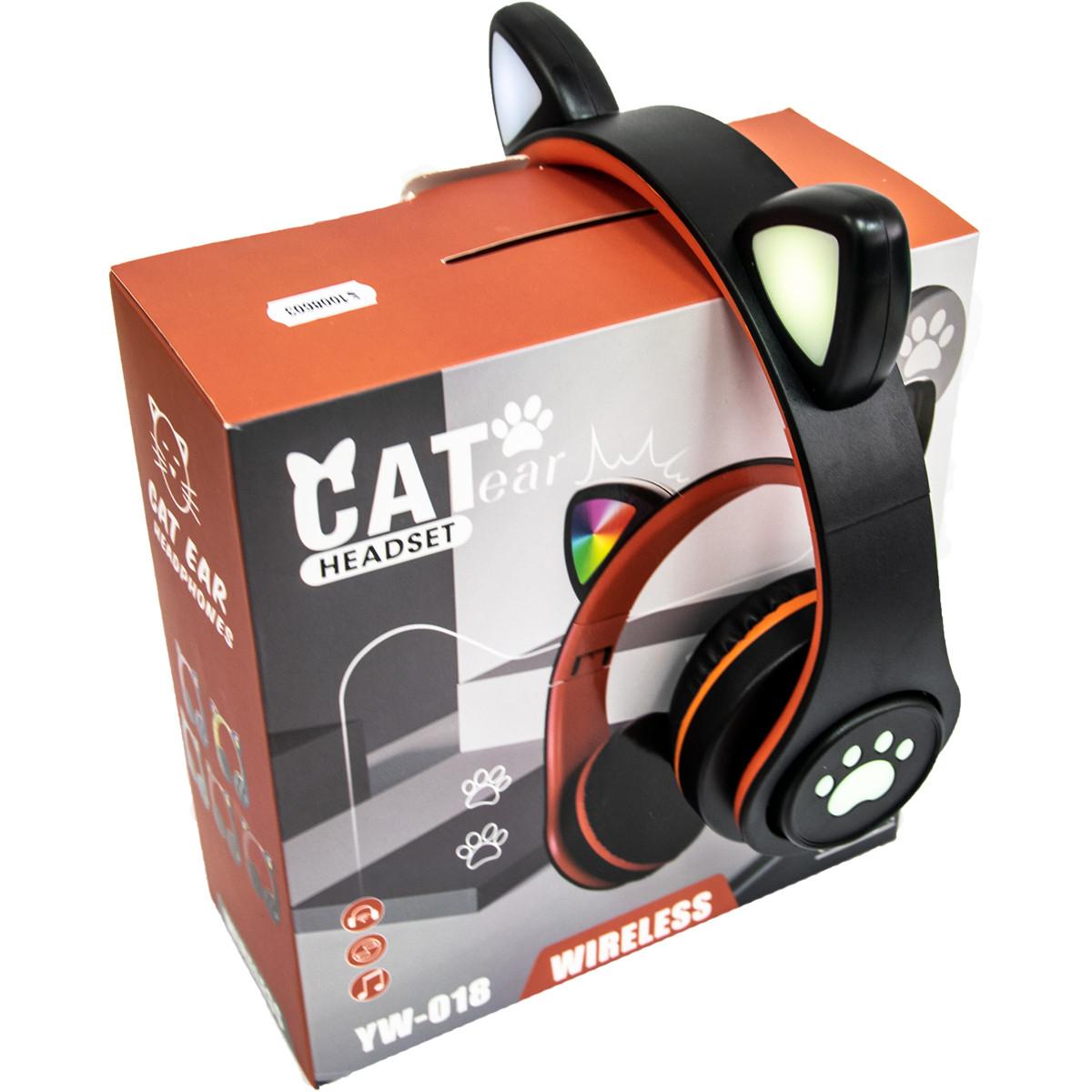 Наушники беспроводные с подсветкой CAT EAR YW-018 Bluetooth наушники с ушками (Черный) блютуз гарнитура (ST)