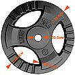 Набор дисков 120кг KAWMET с прямым грифом для штанги (комплект 3), фото 3