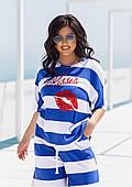 Жіночий літній костюм в смужку батал
