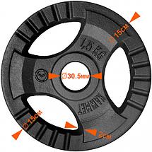 Набір дисків 90кг KAWMET з прямим грифом для штанги (комплект 3), фото 3