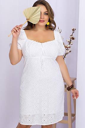 Популярний сукню білого кольору з прошвы візерунок ромашка хіт сезону , великих розмірів 2XL 3XL 4 XL, фото 2