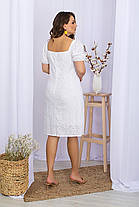 Популярний сукню білого кольору з прошвы візерунок ромашка хіт сезону , великих розмірів 2XL 3XL 4 XL, фото 3