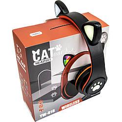 Бездротові навушники з котячими вушками CAT EAR YW-018 безпровідні навушники з мікрофоном (Чорні)