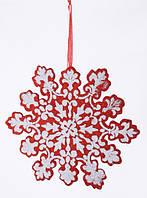 Подвеска - снежинка , красная, 25 см
