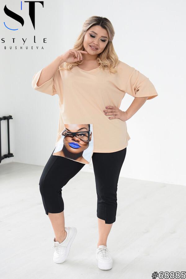 Стильный женский костюм из бриджей и футболки oversize с модной нашивкой с 48 по 62 размер