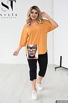 Стильный женский костюм из бриджей и футболки oversize с модной нашивкой с 48 по 62 размер, фото 9