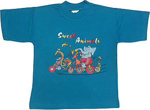 Дитяча футболка на хлопчика ріст 92 1,5-2 роки для малюків з принтом малюнком яскрава трикотажна блакитна
