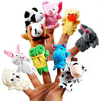 10x Мягкая игрушка на палец, животные, кукольный театр