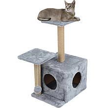 Домик когтеточка с полкой Маша 46х36х80 см (дряпка углова) для кошки Серый. Лежанка игровой комплекс для котов