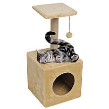 Домик-когтеточка с полкой Ося 36х36х80см (дряпка) для кошки Бежевый