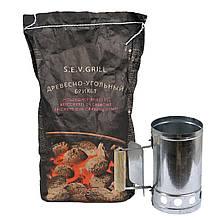 Древесный угольный брикет S.E.V.GRILL 2.5 кг + Стартер для розжига углей ( угли для розжига костра, гриля)