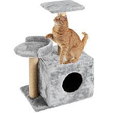 Будиночок когтеточка з полицею Буся 36х46х80см (дряпка кутова) для кішки Сірий. Лежанка ігровий комплекс для