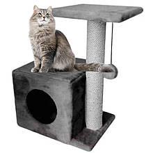 Будиночок когтеточка з полицею Меліса 46х36х60см (дряпка кутова) для кота Сірий. Лежанка ігровий комплекс
