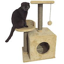 Будиночок-когтеточка з полицею Буся 36х46х80см (дряпка) для кішки Бежевий