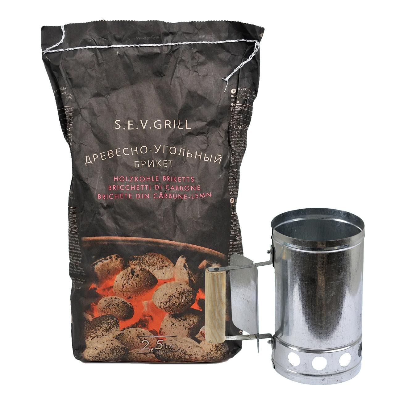 Деревний та вугільний брикет S. E. V. GRILL 2.5 кг + Стартер для розпалювання вугілля ( вугілля для