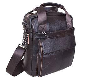 Кожаная мужская сумка через плечо из кожи для документов ноутбука коричневая кожа 30х26 8s8861-1 Brown Польша