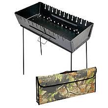 Мангал - чемодан 2 мм на 12 шампуров 690х350х160мм + Чехол