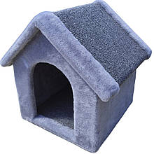Лежанка будка будиночок для собаки з хутра 36х36х40 см Сірий