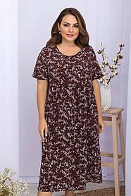 Платье легкое повседневное шоколадного цвета  в принт на лето, больших размеров   XL 2XL 3XL