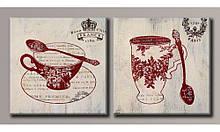 Модульна картина на полотні Чашечки чаю 40х82,5 см (HAD-021)
