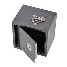 Сейф мебельный металлический для денег бумаг документов 20х20х20 см (Маленький сейф с механическим замком)