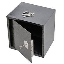 Сейф мебельный металлический для денег бумаг документов 35х35х30 см (Маленький сейф с механическим замком)