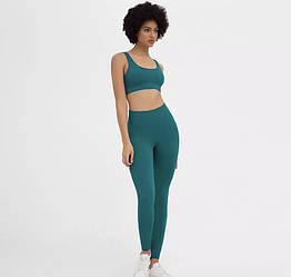 Жіночий неоновий спортивний костюм в рубчик (топ+штани) для занять спортом, фітнесом, йогою