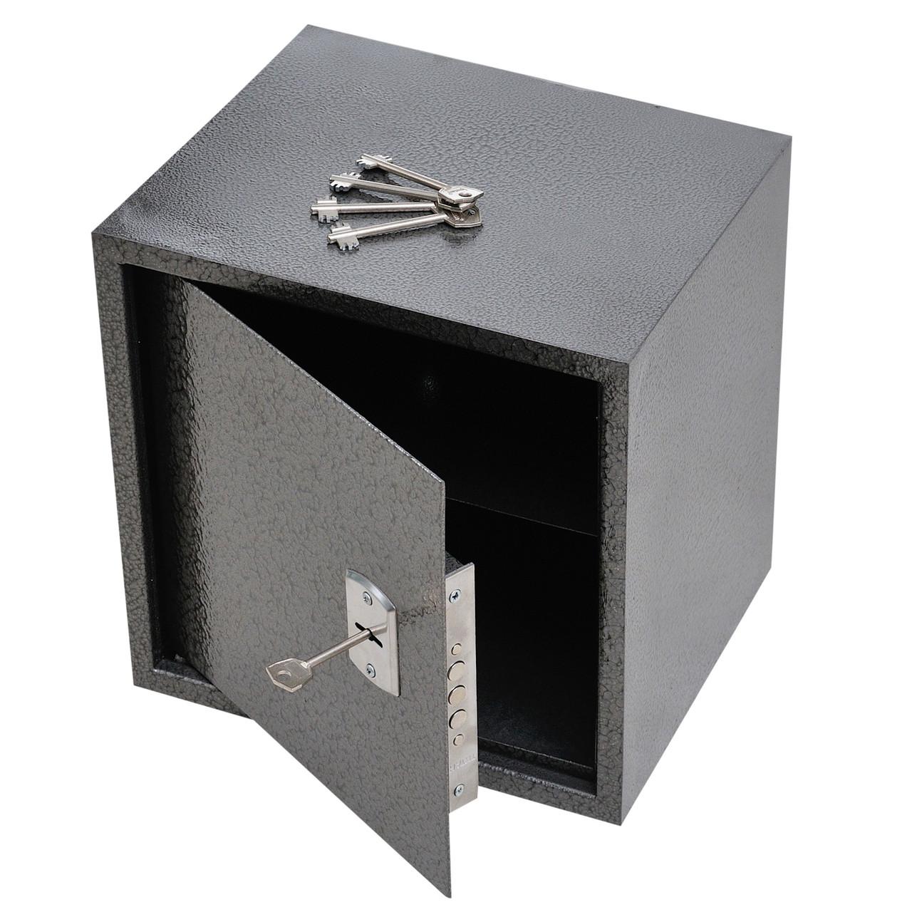 Сейф меблевий металевий для грошей паперів документів 35х35х30 см (Маленький сейф з механічним замком)