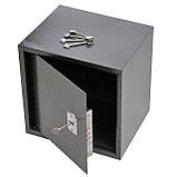 Сейф меблевий металевий для грошей паперів документів 40х40х35 см (Маленький сейф з механічним замком), фото 2