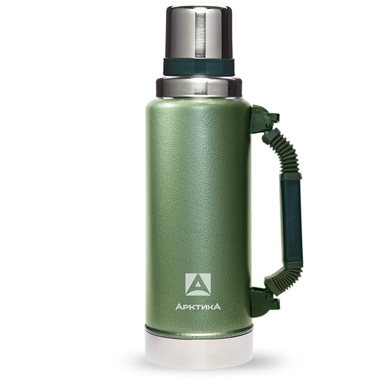 Термос Арктика ударостійкий 1.25 л Уазик з ручкою зелений ( термокружка, термобутылка для чаю і води)