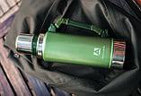 Термос Арктика ударостійкий 1.25 л Уазик з ручкою зелений ( термокружка, термобутылка для чаю і води), фото 4