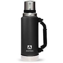 Термос Арктика ударостійкий 1.25 л Уазик з ручкою чорний ( термокружка, термобутылка для чаю і води)