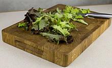 Торцева обробна дерев'яна дошка для кухні Пікнічок з дуба 35х25х4 см (Кухонна дошка для нарізання)