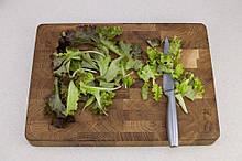 Торцева обробна дерев'яна дошка для кухні Пікнічок з дуба 45х30х4 см (Кухонна дошка для нарізання)