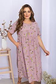 Привлекательное лиловое платье летнее в принт софт, больших размеров   XL 2XL 3XL