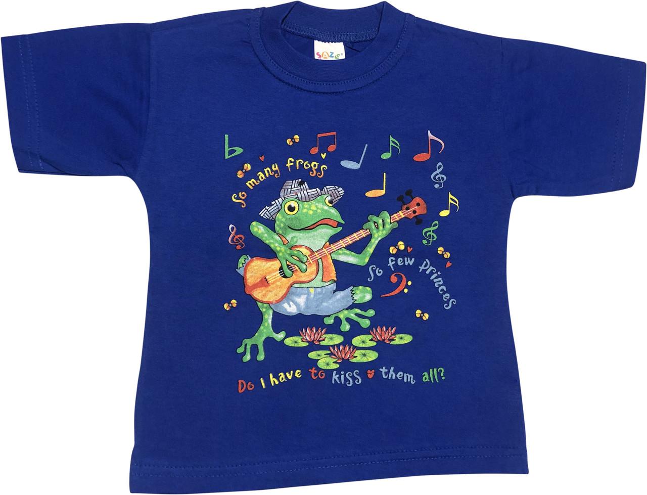 Детская футболка на мальчика рост 98 2-3 года для малышей с принтом рисунком яркая красивая трикотажная синяя