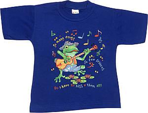 Дитяча футболка на хлопчика ріст 98 2-3 роки для малюків з принтом малюнком яскрава гарна трикотажна синя