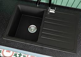 Кухонная мойка гранитная Versal (758х462х201) черная (Black) ТМ MIRAGGIO